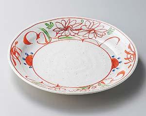 【まとめ買い10個セット品】和食器 ヤ204-016 粉引釉古代赤絵8.0皿 【キャンセル/返品不可】【厨房館】