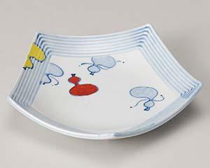 【まとめ買い10個セット品】和食器 ミ209-017 赤絵瓢五角 フルーツ皿【キャンセル/返品不可】【厨房館】