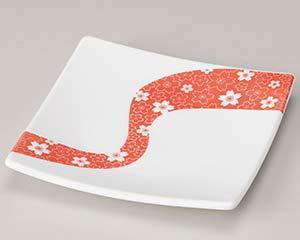 【まとめ買い10個セット品】和食器 ハ210-066 赤桜流し15.5cm正角皿 【キャンセル/返品不可】【厨房館】