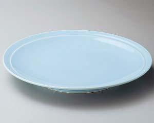【まとめ買い10個セット品】和食器 ス228-037 青地12号高台皿【キャンセル/返品不可】【厨房館】