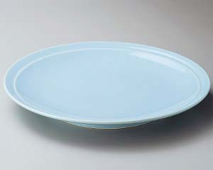【まとめ買い10個セット品】和食器 ス228-047 青地11号高台皿【キャンセル/返品不可】【厨房館】