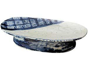 和食器 ミ232-046 安南七宝渦模様高台楕円盛込皿(手造り)