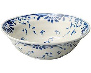 和食器 ミ233-026 安南呉須更紗 手挽き大盛鉢