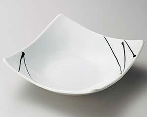 【まとめ買い10個セット品】和食器 ツ251-046 白釉黒一珍四方上り鉢(大) 【キャンセル/返品不可】【厨房館】