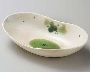 和食器 ハ257-096 緑彩ぶどう楕円鉢