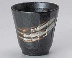 和食器 ホ273-316 黒刷毛けずりカップ 【キャンセル/返品不可】【厨房館】