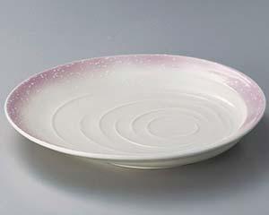 【まとめ買い10個セット品】和食器 ミ307-217 ピンク白吹波紋9寸皿 【キャンセル/返品不可】【厨房館】