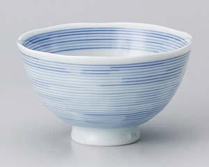 和食器 ロ359-676 紺千筋飯碗小