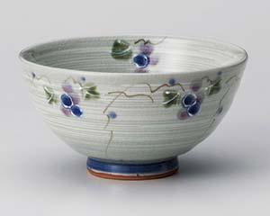 和食器 ア362-016 三彩ぶどう青茶碗