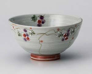 和食器 ア362-026 三彩ぶどう赤茶碗