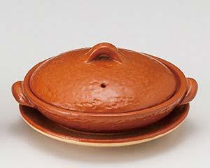 【まとめ買い10個セット品】和食器 メ395-036 5号赤楽柳川鍋(受皿付) 【キャンセル/返品不可】【厨房館】