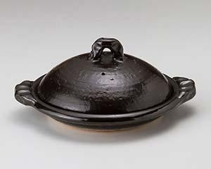 和食器 メ395-196 黒釉11.0陶板 【キャンセル/返品不可】【厨房館】