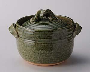 和食器 メ402-277 緑釉三合御飯鍋 【厨房館】