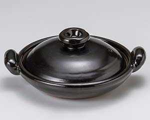 isj-408-227 和食器 ス408-227 SALE 黒釉 手造り 厨房館 人気商品 すっぽん鍋9号