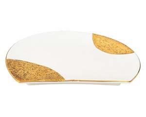 【まとめ買い10個セット品】和食器 ツ474-617 萬月金月花 半月焼物皿【キャンセル/返品不可】【厨房館】