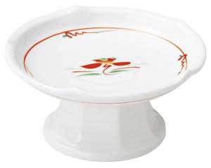 【まとめ買い10個セット品】和食器 ホ478-097 赤絵花紋 梅型高台刺身鉢(小)【キャンセル/返品不可】【厨房館】