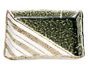 【まとめ買い10個セット品】和食器 ロ463-097 織部ストライプ 正角8.0皿【キャンセル/返品不可】【厨房館】