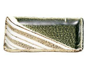 【まとめ買い10個セット品】和食器 ロ463-137 織部ストライプ 7.0長角皿【キャンセル/返品不可】【厨房館】