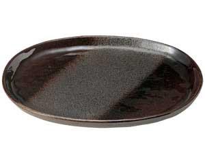 【まとめ買い10個セット品】和食器 ロ462-557 鉄釉布目 小判11.0皿【キャンセル/返品不可】【厨房館】