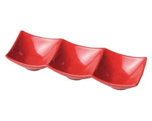 【まとめ買い10個セット品】和食器 ホ529-306 スタイルI赤3P角鉢 【キャンセル/返品不可】【厨房館】