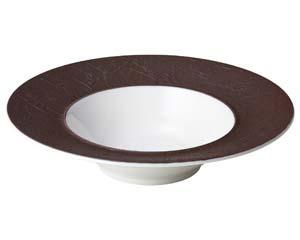 【まとめ買い10個セット品】和食器 キ534-056 ホワイト&ブラウン26cmディープスープ 【キャンセル/返品不可】【厨房館】