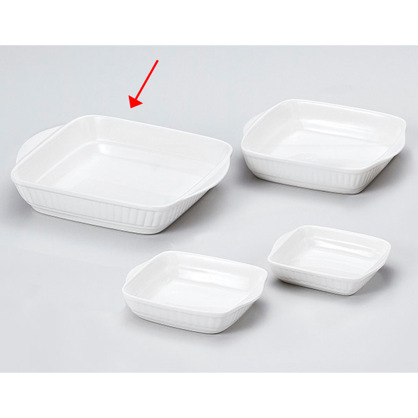 【まとめ買い10個セット品】和食器 キ604-176 J3白耳付グラタン(L) 【キャンセル/返品不可】【厨房館】