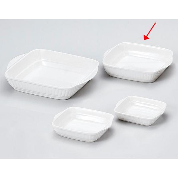 【まとめ買い10個セット品】和食器 キ604-186 J3白耳付グラタン(M) 【キャンセル/返品不可】【厨房館】