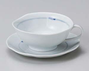 【まとめ買い10個セット品】和食器 ホ605-276 ブルーライン手付碗と受皿 【キャンセル/返品不可】【厨房館】
