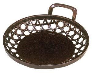 和食器 エ709-066 [A]片手かご 茶パール6寸