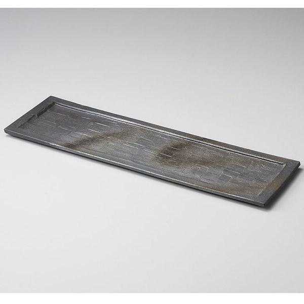 和食器 メ151-117 黒銀彩15.0長角皿 【厨房館】