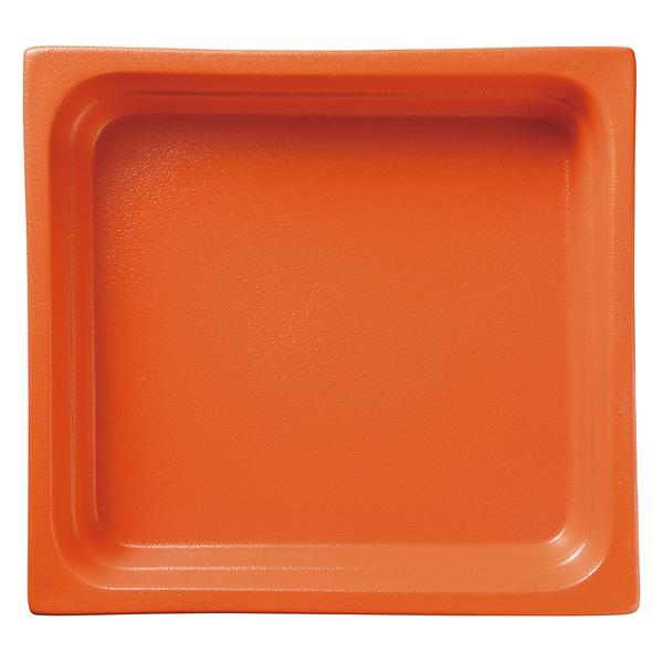 和食器 イ593-197 ガストロノームパン(UAE) 角型深2/3オレンジ 【厨房館】