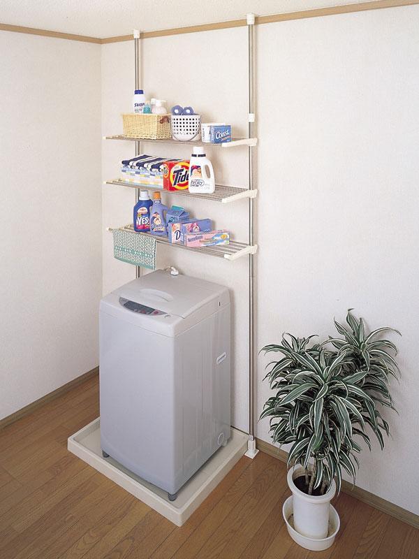【 業務用 】セキスイ つっぱり式ステンレス洗濯機ラック 3段