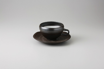 【まとめ買い10個セット品】和食器 黒陶 コーヒーC/S 36M462-06 まごころ第36集 【キャンセル/返品不可】【厨房館】