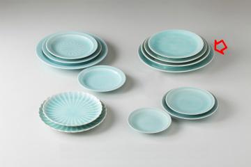 【まとめ買い10個セット品】和食器 手彫青白瓷 丸尺皿 36K205-16 まごころ第36集 【キャンセル/返品不可】【厨房館】
