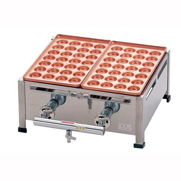 【 業務用 】AKS 銅たこ焼機 18穴 Bタイプ 2連 LPガス【 メーカー直送/後払い決済不可 】
