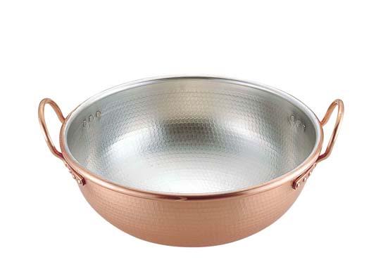 【 業務用 】SA銅打出さわり鍋 手付・スズメッキ付き 30cm