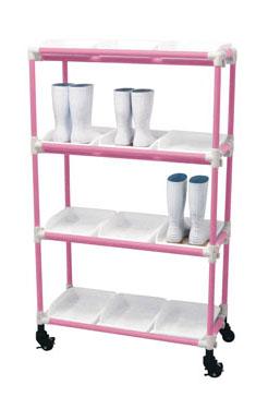 【 業務用 】抗菌イレクター 長靴ラック キャスター 3列5段 15人用 ピンク 【 メーカー直送/後払い決済不可 】