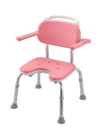 【 業務用 】ヤワラカシャワーチェア ピンク  U型肘掛付コンパクト