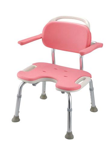 【 業務用 】ヤワラカシャワーチェア ピンク  U型肘掛付ワイド