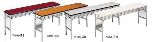 【 業務用 】折リタタミ会議テーブルクランク式ワイド脚(ソフトエッジ)W156-RB