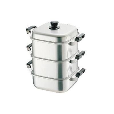 【即納】アルマイト角型蒸器 26cm 二重 【 せいろ セイロ 蒸篭 蒸し器 アルミ 】【厨房館】