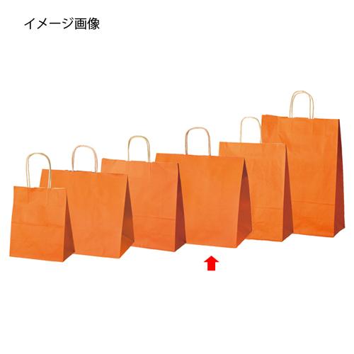 【まとめ買い10個セット品】 カラー手提げ紙袋 オレンジ 34×22×32 50枚【店舗什器 小物 ディスプレー ギフト ラッピング 包装紙 袋 消耗品 店舗備品】【厨房館】