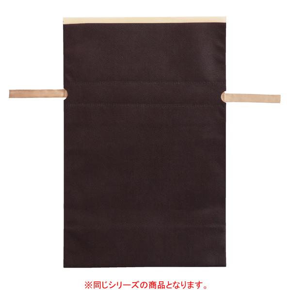 【まとめ買い10個セット品】 不織布リボン付き巾着バッグ LLブラウン 10枚 45×57[45.5]×底マチ12cm 【厨房館】