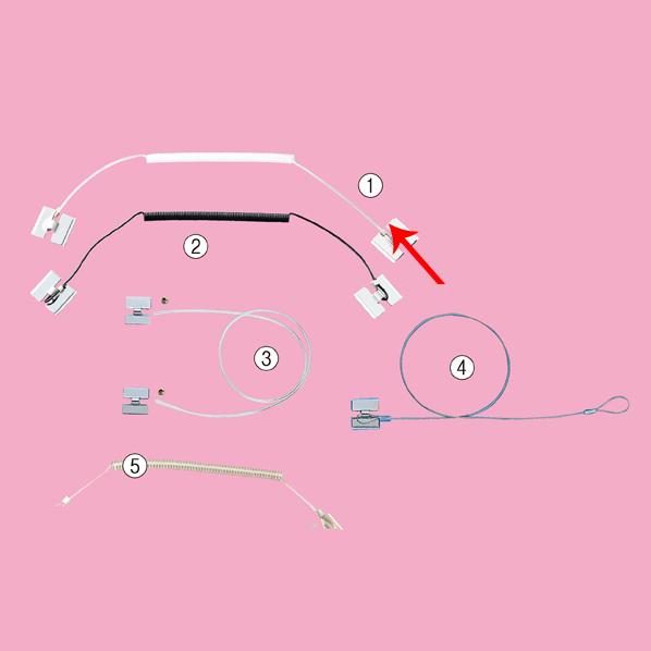 【まとめ買い10個セット品】 防犯ストラップ 透明カールコード 5本 【厨房館】