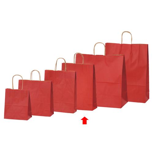 【まとめ買い10個セット品】 カラー手提げ紙袋 レッド 32×11.5×41 200枚【店舗備品 包装紙 ラッピング 袋 ディスプレー店舗】【厨房館】