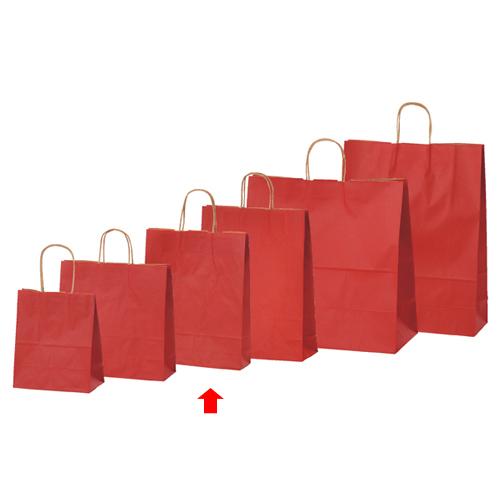 【まとめ買い10個セット品】 カラー手提げ紙袋 レッド 27×8×34 50枚【店舗備品 包装紙 ラッピング 袋 ディスプレー店舗】【厨房館】