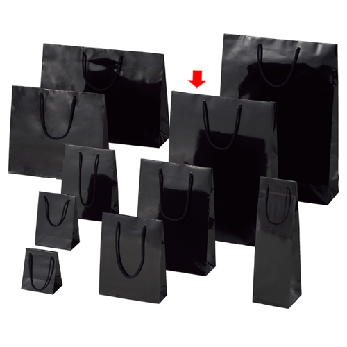 ブライトバッグ ブラック 33×10×45 150枚【店舗備品 包装紙 ラッピング 袋 ディスプレー店舗】【厨房館】
