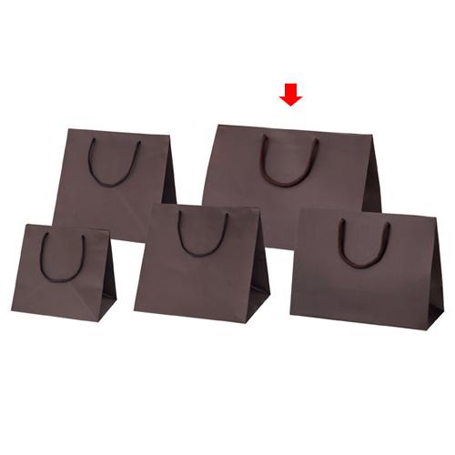 【まとめ買い10個セット品】 マット貼りブライトバッグ ブラウン 42×23×30 100枚【店舗備品 包装紙 ラッピング 袋 ディスプレー店舗】【厨房館】