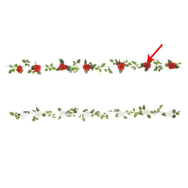 【まとめ買い10個セット品】 オープンローズガーランド レッド1本 【バレンタインデー ローズ バラ 薔薇 飾り イベント 装飾】 【厨房館】