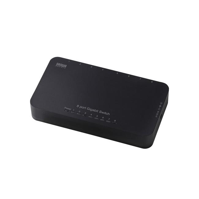 Giga対応スイッチングハブ(8ポート・ブラック)LAN-GIH8APN